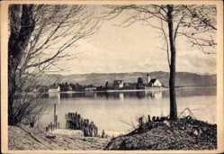 Postcard Wasserburg am Bodensee Schwaben, Blick auf den Ort, Berge, Seepartie