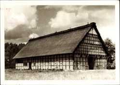 Postcard Cloppenburg in Niedersachsen, Der Haakenkof im Museumsdorf, Reetdach
