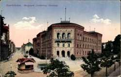 Postcard Saarbrücken Saarland, Bergwerk Direktions Gebäude, Straßenpartie