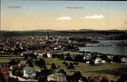 Postcard Konstanz am Bodensee, Totalansicht der Ortschaft, Berge, See