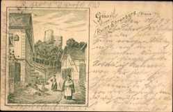 Vorläufer Litho Plaue Thüringen, Ruine Ehrenburg, 1893
