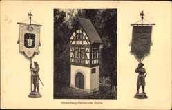 Postcard Hörselberggemeinde Gotha Thüringen, Fachwerkhaus, Fahnen