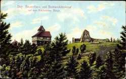 Postcard Riechheim Elleben Thüringen, Bauernhaus und Bismarckdenkmal, Berg
