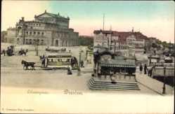 Postcard Dresden, Theaterplatz, Straßenbahn mit Pferdezug, Kiosk