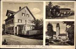 Postcard Dorschhausen Bad Wörishofen Unterallgäu, Weinrestaurant Maidel, Kirchturm