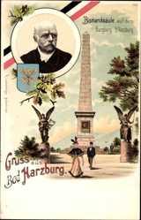 Litho Bad Harzburg in Niedersachsen, Bismarcksäule auf dem Burgberg, Bismarck