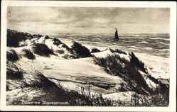 Postcard Langeoog in Niedersachsen, Dünen am Meeresstrand, Segelboot