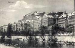 Postcard Tübingen am Neckar Baden Württemberg, Flusspartie mit Ort im Winter