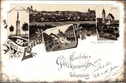 Litho Eisfeld in Thüringen, Siegesdenkmal, Markt, Schloss