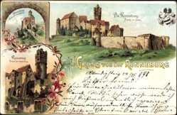 Litho Ronneburg in Hessen, Vorburg, innere Burg, Ansicht von Süden