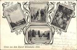 Postcard Bad Wörishofen im schwäbischen Kreis Unterallgäu, Denkmäler Sebastian Kneipp