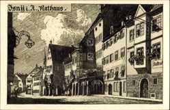 Künstler Ak Isny im Allgäu Baden Württemberg, Partie am Rathaus