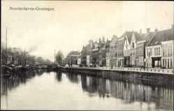 Postcard Noorderhaven Groningen Niederlande, Flusspartie, Häuser