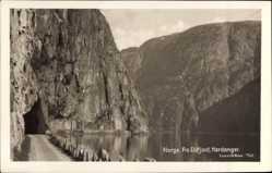Postcard Hardanger Norwegen, Fra Eidfjord, Tunnel im Berg