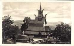 Postcard Fantoft Norwegen, Stavkirke, Holzkirche im Wikingerstil