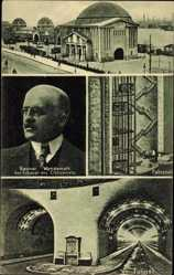 Postcard Hamburg Mitte, Baurat Wendemuth, Elbtunnel, Fahrstuhl, Innenansicht