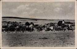 Postcard Bellersen Brakel Kreis Höxter, Blick auf die Ortschaft, Acker, Feld