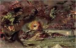 Ak Walpurgisnacht auf dem Brocken, Hexen, Feuer, Teufel, Eule, Ziegenbock
