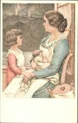 Ganzsachen Künstler Ak Bundesfeier 1924, Pour nos Compatriotes, Mutter, Schweiz