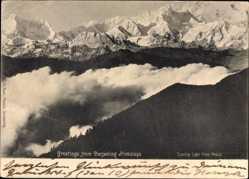 Postcard Darjeeling Indien, Himalaya, Blick auf das Gebirge, Wolken