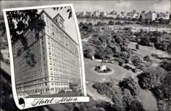 Postcard New York City USA, View of Hotel Alden, Central Park, Blick auf den Ort