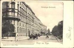 Postcard Riga Lettland, Blick in den Thronfolger Boulevard, Kutschen, Fassade