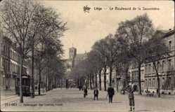 Postcard Liège Lüttich Wallonien, Le Boulevard de la Sauveniere, Straßenbahn