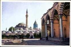 Postcard Konya Türkei, Mausoleum of Mevlana, Minarett, Moschee, Kutsche