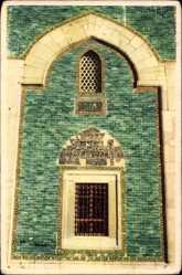 Postcard Bursa Türkei, Close up shwoing tiles of Green Mausoleum, Fassade