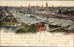 Postcard Hansestadt Bremen, Elbpartie, Blick auf den Ort, Kirchtürme
