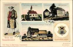 Wappen Ak Großröhrsdorf im Kreis Bautzen, Kirche, Schule, Lehngericht, Tracht