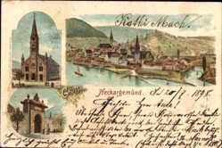 Litho Neckargemünd in Baden Württemberg, Totale, Kathol. Kirche, Stadttor