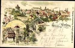 Künstler Litho Nürnberg Bayern, Frauenthor, Henkersteg, Stadtansicht