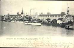 Postcard Düsseldorf am Rhein, Blick auf die Ausstellung 1902, Salondampfer