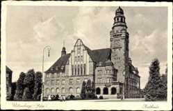 Postcard Wittenberge in der Prignitz, Blick auf das Rathaus, Fassade, Uhrturm