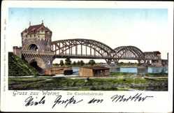 Leuchtfenster Ak Worms in Rheinland Pfalz, Blick auf die Eisenbahnbrücke