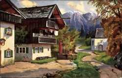 Künstler Ak Garmisch Partenkirchen in Oberbayern, Oberbayrisches Bauernhaus