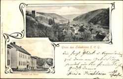 Postcard Bad Liebenstein im Wartburgkreis, Gasthof zum Ritter, Ort, Burgruine