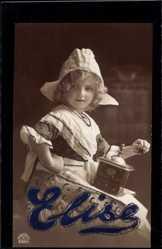 Glitzer Buchstaben Ak Elise, Bauernmädchen mit Kaffeemühle, RKL 8205 1