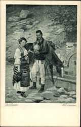 Künstler Ak Predic, U., Na izvoru, An der Quelle