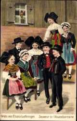 Präge Ak Gruß aus Elsaß Lothringen, Elsäßer Trachten, Kinder