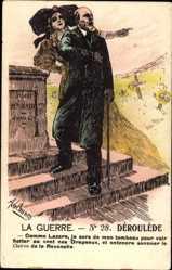 Künstler Ak La Guerre, Paul Déroulède, Vom Grab auferstanden, Elsaß