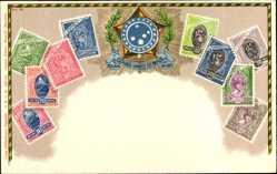 Präge Briefmarken Litho Brasilien, Estados Unidos do Brazil, Zieher