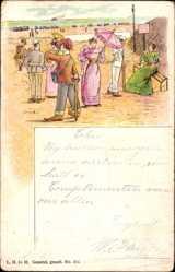 Litho Strandbesucher, Frauen in langen Kleidern mit Schirmen