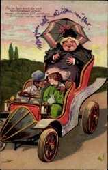 Präge Litho So im Auto durch die Welt, Liebespaar, Schwiegermutter