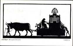 Scherenschnitt Ak Diefenbach, Per aspera ad astra, Teilbild 30, Ochsen