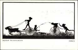 Scherenschnitt Ak Diefenbach, Per aspera ad astra, Teilbild 3, Ziege, Fahrrad