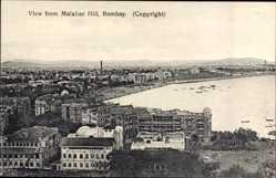 Postcard Bombay Indien, View from Malabar Hill, Küstenregion mit Fabrik, Reihenhäuser