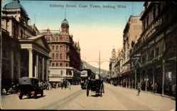 Postcard Cape Town Kapstadt Südafrika, Adderley Street looking West, Straßenbahn