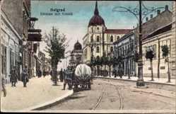 Postcard Belgrad Beograd Serbien, Straße mit Konak, Soldaten, Gebäude